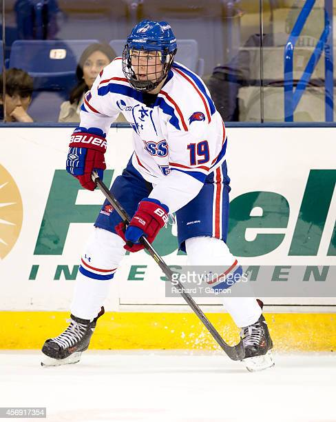 Smith of the Massachusetts Lowell River Hawks skates during NCAA exhibition hockey against the St. Thomas University Tommies at the Tsongas Center on...