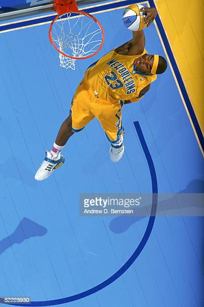 R Smith of the New Orleans Hornets attempts a dunk in the Sprite Rising Stars Slam Dunk Contest during 2005 NBA AllStar Weekend at Pepsi Center on...