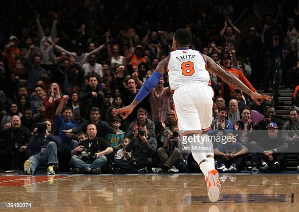 JR Smith of the New York Knicks celebrates against the Dallas Mavericks on February 19 2012 at Madison Square Garden in New York City The Knicks...