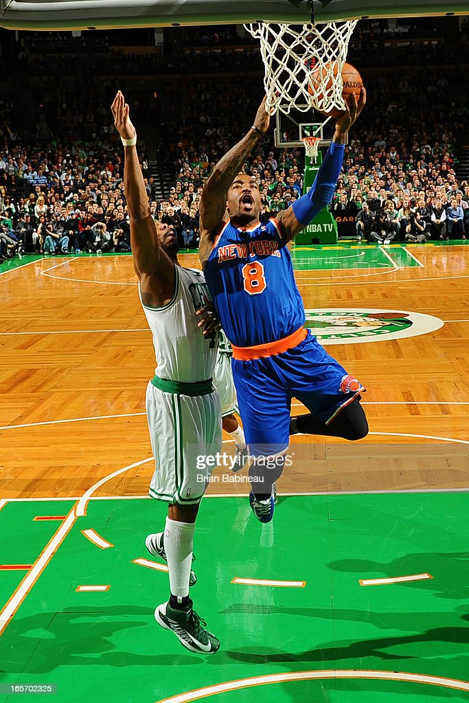 J.R. Smith #8 of the New York Knicks drives to the basket against the Boston Celtics on March 26, 2013 at the TD Garden in Boston, Massachusetts.