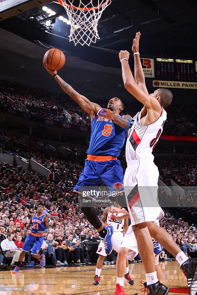 J.R. Smith #8 of the New York Knicks goes up strong for the layup against the Portland Trail Blazers on March 14, 2013 at the Rose Garden Arena in Portland, Oregon.