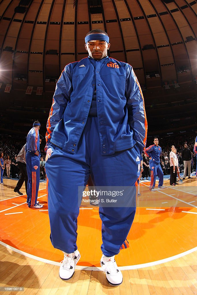 J.R. Smith #8 of the New York Knicks is introduced against the New Orleans Hornets on January 13, 2013 at Madison Square Garden in New York City.
