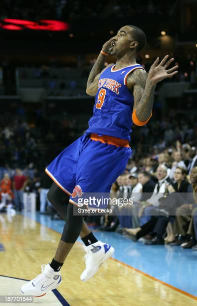 R Smith of the New York Knicks reacts after shooting the game winning shot as time runs expires to defeat the Charlotte Bobcats 10098 during their...