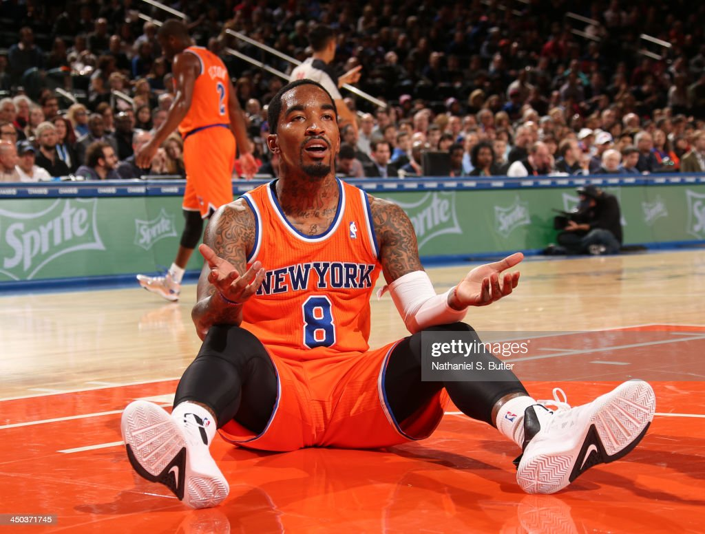 J.R. Smith #8 of the New York Knicks reacts during a game against the Atlanta Hawks at Madison Square Garden in New York City on November 16, 2013.