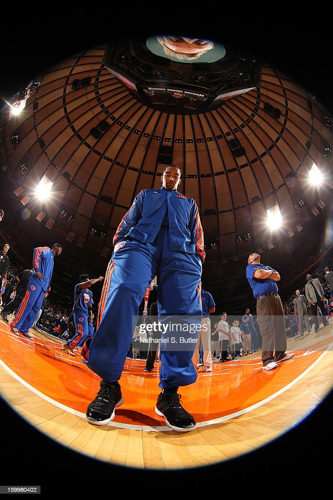 J.R. Smith #8 of the New York Knicks stands on the court before the game against the Brooklyn Nets on January 21, 2013 at Madison Square Garden in New York City.