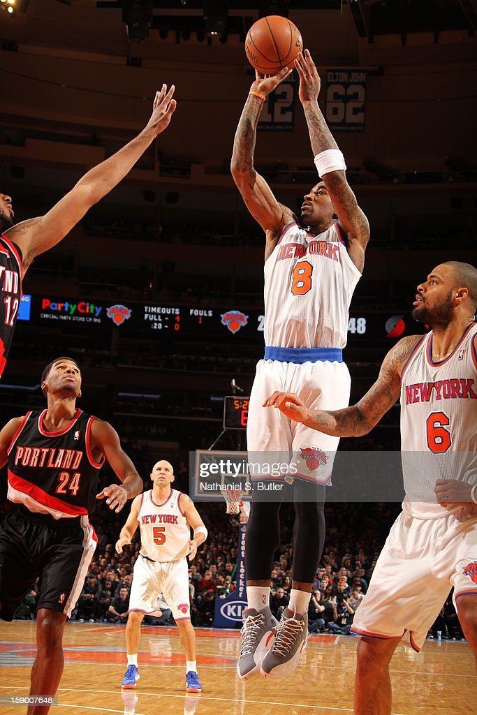 J.R. Smith #8 of the New York Knicks takes a shot against the Portland Trail Blazers on January 1, 2013 at Madison Square Garden in New York City.