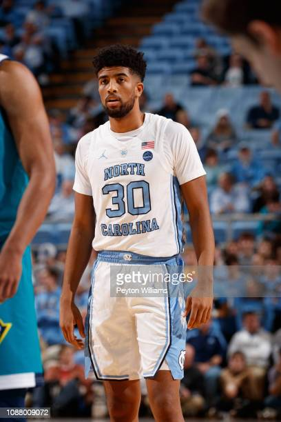 J Smith of the North Carolina Tar Heels looks on during a game against the North CarolinaWilmington Seahawks on December 05 2018 at the Dean Smith...