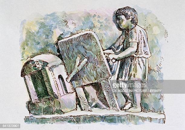 A smith operating a bellows tracing of a Roman stone slab drawing Roman civilisation 4th century