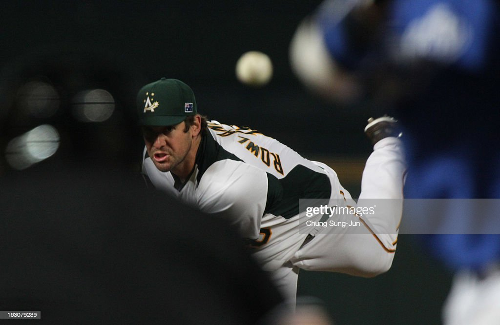 Smith Rowland of Australia pitches in the eighth inning during the World Baseball Classic First Round Group B match between South Korea and Australia at Intercontinental Baseball Stadium on March 4, 2013 in Taichung, Taiwan.
