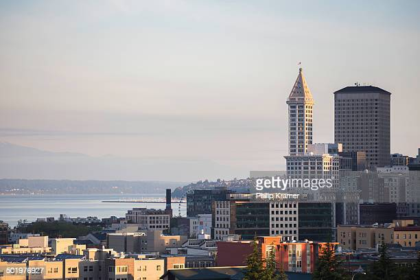 Smith Tower and Seattle Skyline at sunrise.