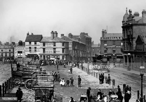 Smithfield Market, Birmingham, West Midlands, circa 1890s. A steam tram travels down Moat Row towards Smithfield Street. Moat Lane is to the left...