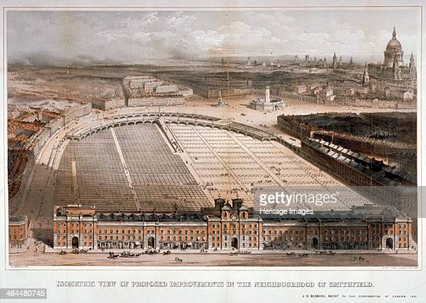 Smithfield Market City of London 1851 Isometric view of the proposed improvements to the area around Smithfield Market