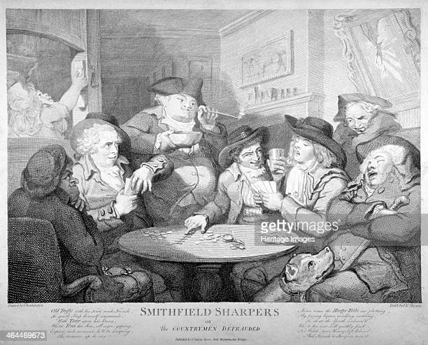 'Smithfield sharpers or the countrymen defrauded' c1787 Seven men round a card table in a Smithfield tavern include two countrymen one old and...