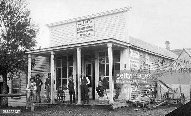 EL Smith's General Store with an 'Artistic Photography' studio tent next to it Twin Bridges Montana circa 1895