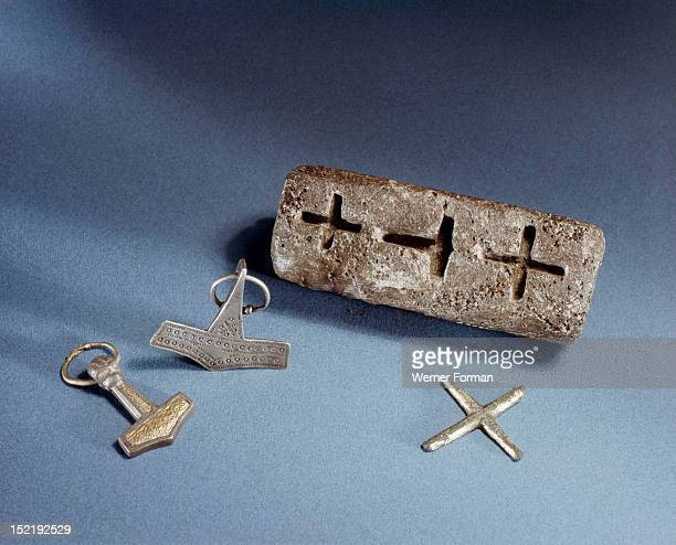 Smiths mould for casting both Christian crosses and Thors hammers Denmark Viking
