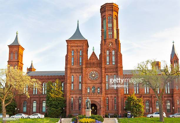 smithsonian castle at sunset, smithsonian museum, washington dc. - smithsonian institution stock pictures, royalty-free photos & images