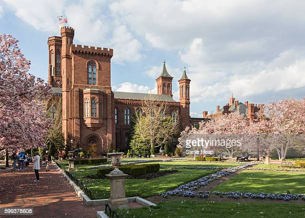 Smithsonian Institution castle building and Enid A Haupt garden in Washington DC, USA