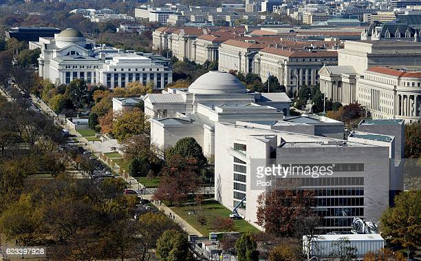Smithsonian museums can be seen from the recently restored US Capitol dome on November 15 2016 in Washington DC The Architect of the Capitol has...