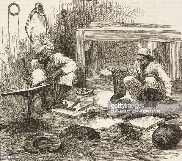 Smithy at Peshawar preparing for the spring campaign Second AngloAfghan War illustration from the magazine The Graphic volume XIX no 491 April 26 1879