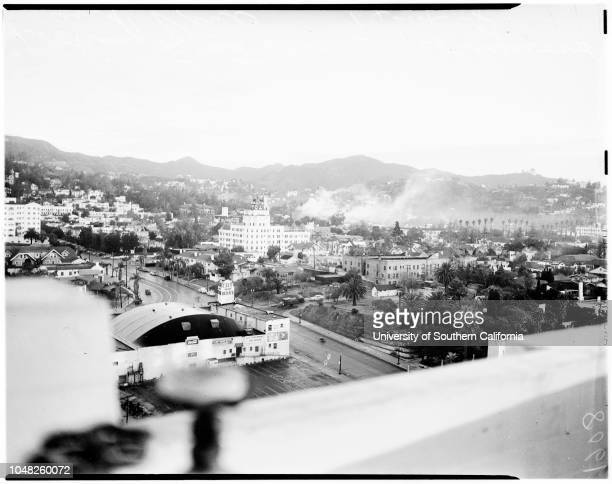 Smog 14 December 1948 Arthur Hocker Views looking east from Hollywood Boulevard and Vine Street Hollywood Boulevard Vine Street Los Angeles California