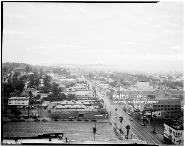 Smog 14 December 1948 Arthur Hocker Views looking east from Hollywood Boulevard and Vine Street Hollywood Boulevard Vine Street Los Angeles California