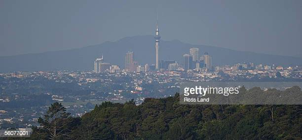 Smog caused by smoke which has blown across the Tasman from the New South Wales bush fires shrouds Auckland city on New Years Day In the background...