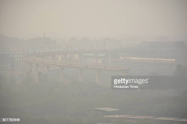 Smog in early morning near Anand Vihar on November 8 2016 in Ghaziabad India
