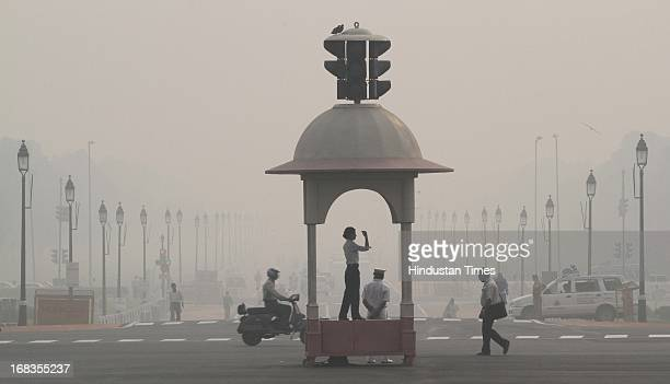 Smog in the morning time9am at Rajpath on October 20 2010 in New Delhi India