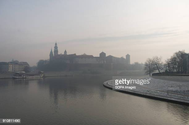Smog is seen above Wawel Castle in Krakow Today the PM 10 level is 136 g/m3