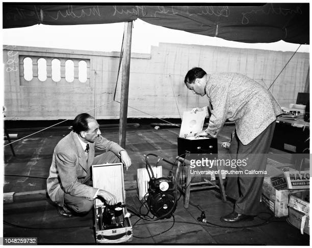 Smog measuring device 27 November 1950 Walter J Hamming Anthony BellinDoctor Paul Mader Stanley Hall Caption slip reads 'Photographer Forbes Date...