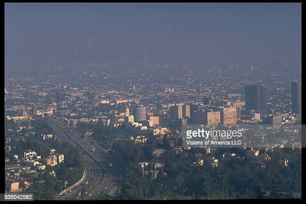 Smog obscures the Los Angeles skyline Ca 1990