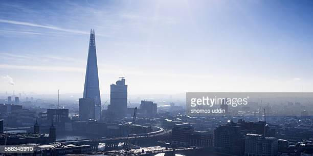 Smog over London city - aerial view