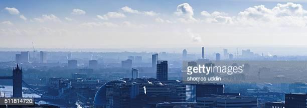 Smog over London cityscape