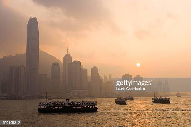 Smog Over Victoria Harbour Skyline in Hong Kong