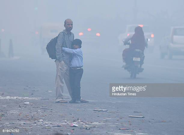 Smoggy morning a day after Diwali celebration on October 31 2016 in New Delhi India Data from the central pollution monitoring agency showed that...