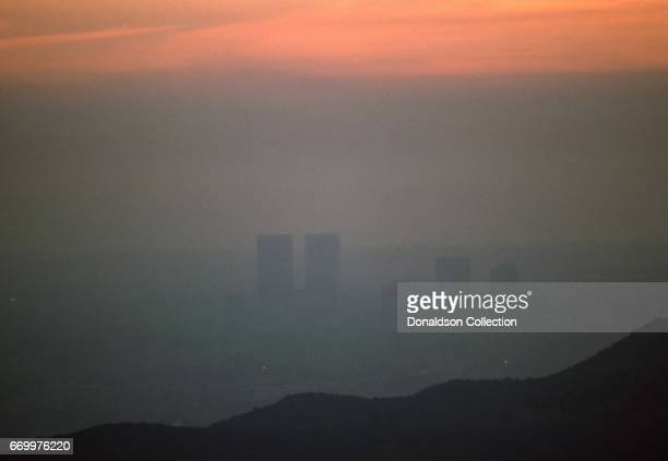 A smoggy view of downtown from the Hollywoode Hills in January 1975 in Los Angeles California