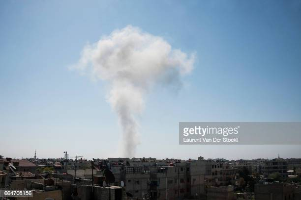APRIL 2013 Smoke after the explosion of bomb dropped by a Syrian Army jet on April 28 2013 Earlier this month Syrian government forces began...