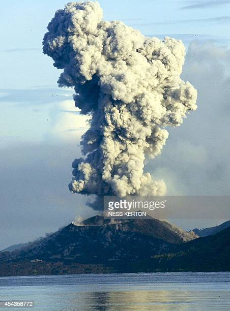 Smoke and ash fills the air as Mount Tavurvur erupts in Rabaul in eastern Papua New Guinea on August 30 2014 A volcano which has erupted in Papua New...