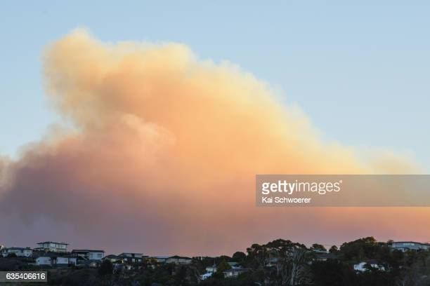 Smoke and fire light up behind residential housing on February 15 2017 in Christchurch New Zealand A wind change has caused homes near the Port Hills...