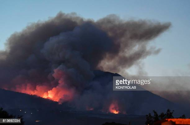 Smoke and flames from the wild fires burning on the vesuvius Campania Southern Italy