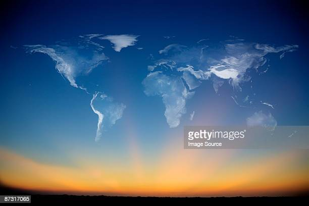 smoke atlas in the sky - world map stock photos and pictures
