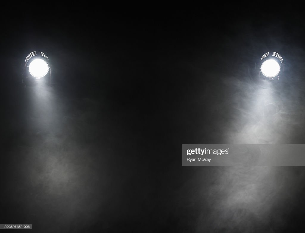 Smoke beneath spotlights : Stock Photo