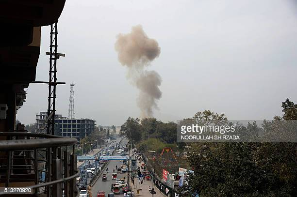 Smoke billow at the site of an attack in front of the Indian consulate in Jalalabad on March 2 2016 Explosions and gunfire echoed on March 2 as...