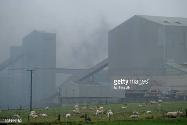 Smoke billows as a fire breaks out on a conveyor system at the ICL Boulby Potash Mine on January 09 2020 in Boulby England Underground operations...