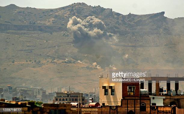 Smoke billows following a reported airstrike by the Saudiled coalition in the Yemeni capital Sanaa on July 1 2020