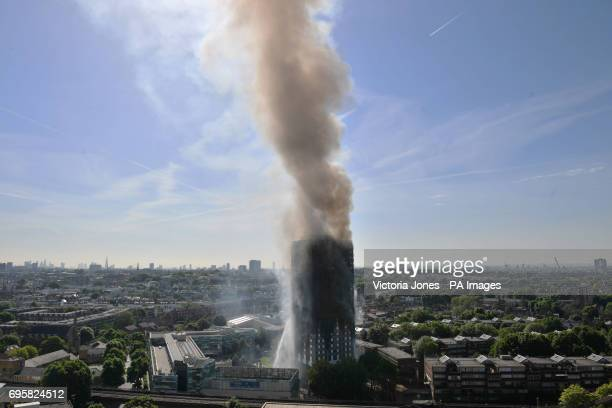 Smoke billows from a fire that has engulfed the 24storey Grenfell Tower in west London