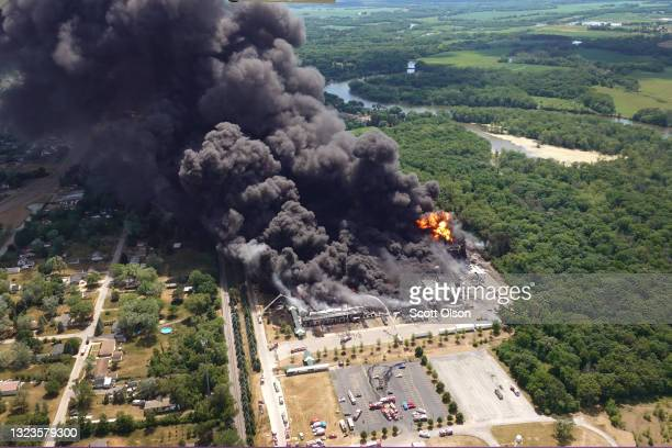 Smoke billows from an industrial fire at Chemtool Inc. On June 14, 2021 in Rockton, Illinois. The chemical fire at the plant, which produces...