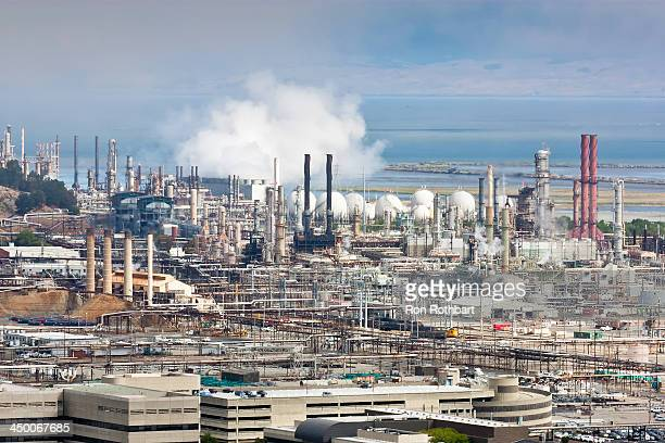 CONTENT] Smoke billows from stacks at the Chevron refinery in Richmond California The photographer's location was Nicholl Knob in Point Richmond