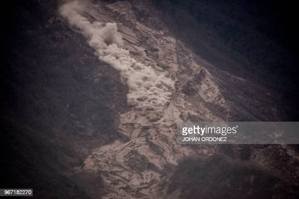 Smoke billows from the ashcovered slopes of the Fuego Volcano taken from San Miguel Los Lotes a village in Escuintla Department about 35 km southwest...