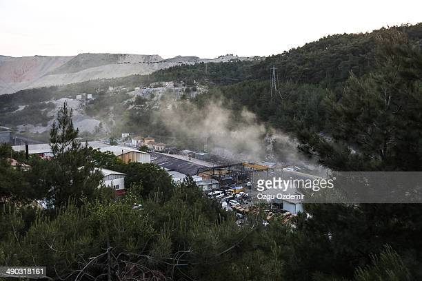 Smoke billows from the coal mine on May 14, 2014 in Soma, Manisa, Turkey. An explosion and fire in the coal mine killed at least 205 miners and...